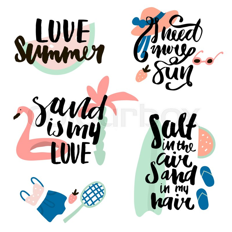 Summer Prints With Hand Lettering Stock Vector Colourbox