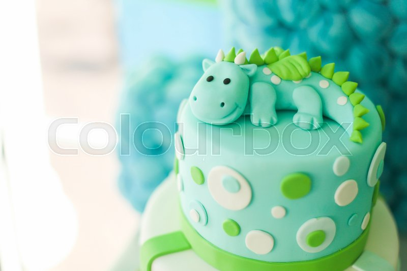 Blue And Green First Year Birthday Cake With Cute Dragon For Little