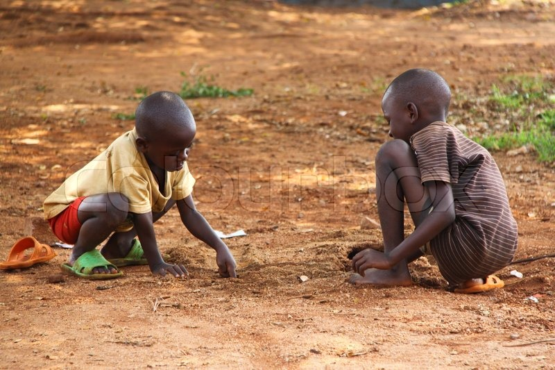Kids Playing In The Street Jinja Uganda Stock Photo