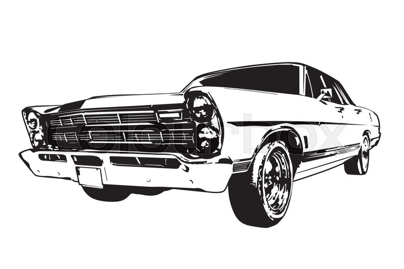 Silhouette Of Vintage American Muscle Car From The 1960s Stock