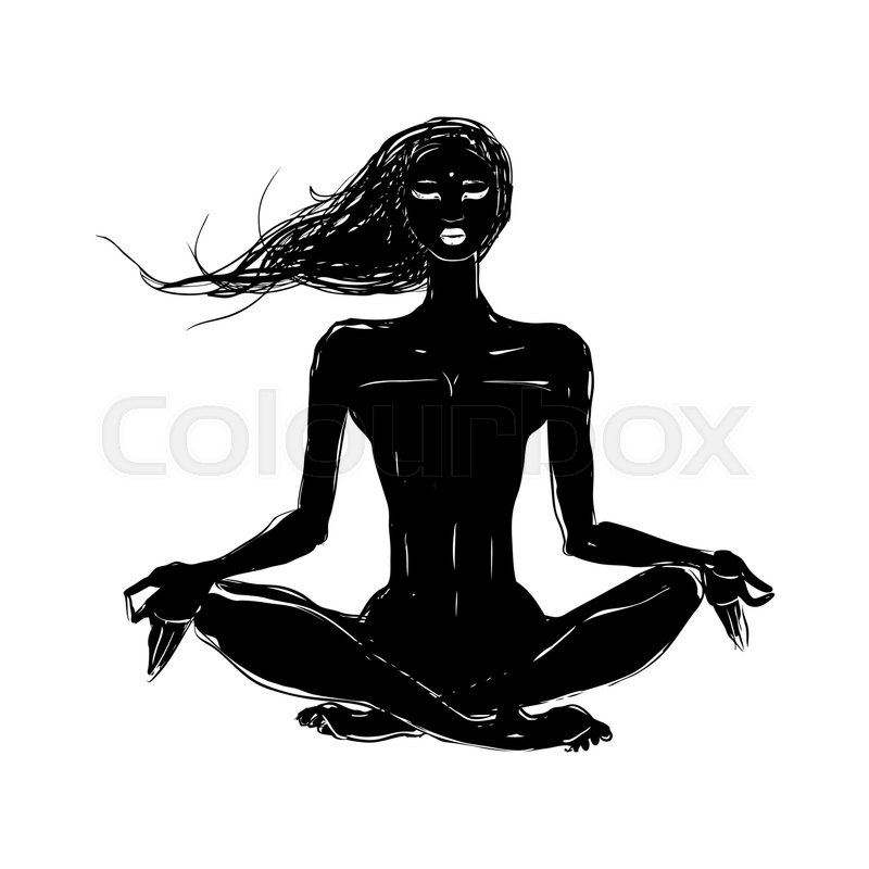 Stock Vector Of Yoga Hand Drawn Illustration Meditation In Lotus Pose