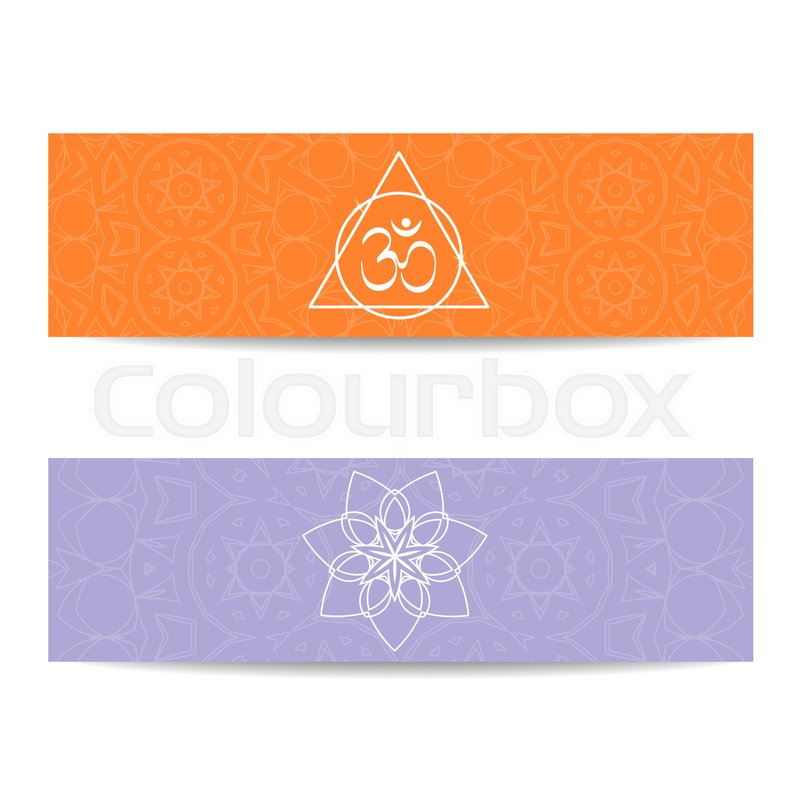 Yoga Banner Template Set Of Horizontal Orange And Purple Flyers With Chakra Mandala Symbols Design For Studio Spa Classes Poster