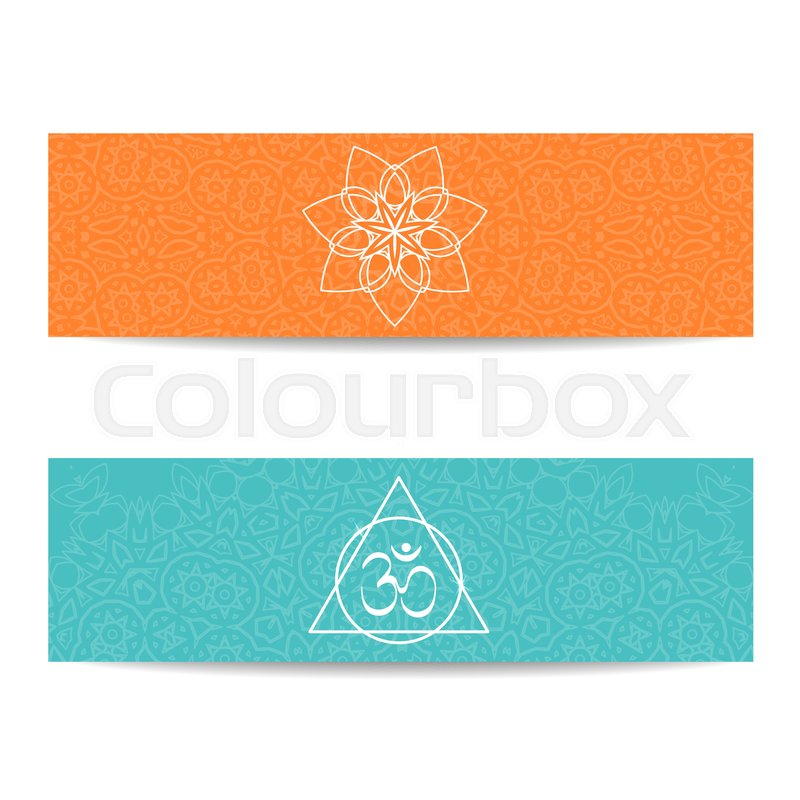 Yoga Studio Template Set Of Horizontal Orange And Turquoise Flyers