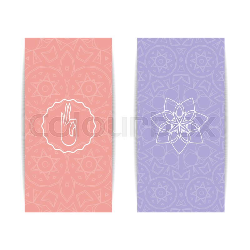 Yoga banner template set of vertical pink and purple flyers with stock vector of yoga banner template set of vertical pink and purple flyers with stopboris Gallery