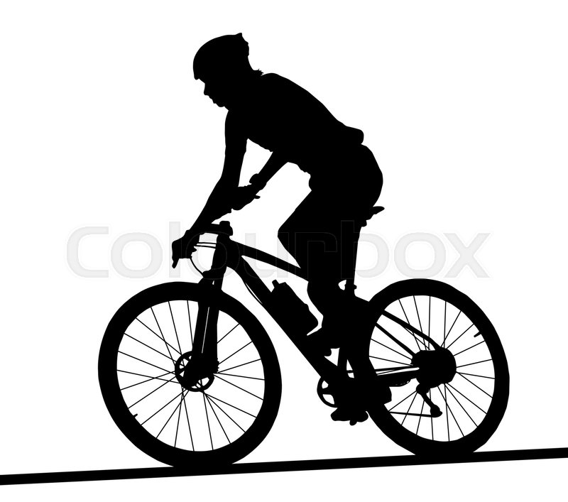 side profile silhouette of male mountain bike racer riding bicycle rh colourbox com biker vector art for commercial use bike victory