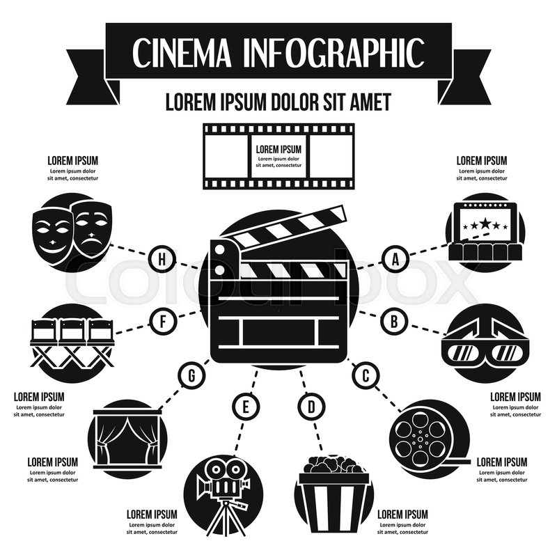 Cinema Infographic Banner Concept Simple Illustration Of