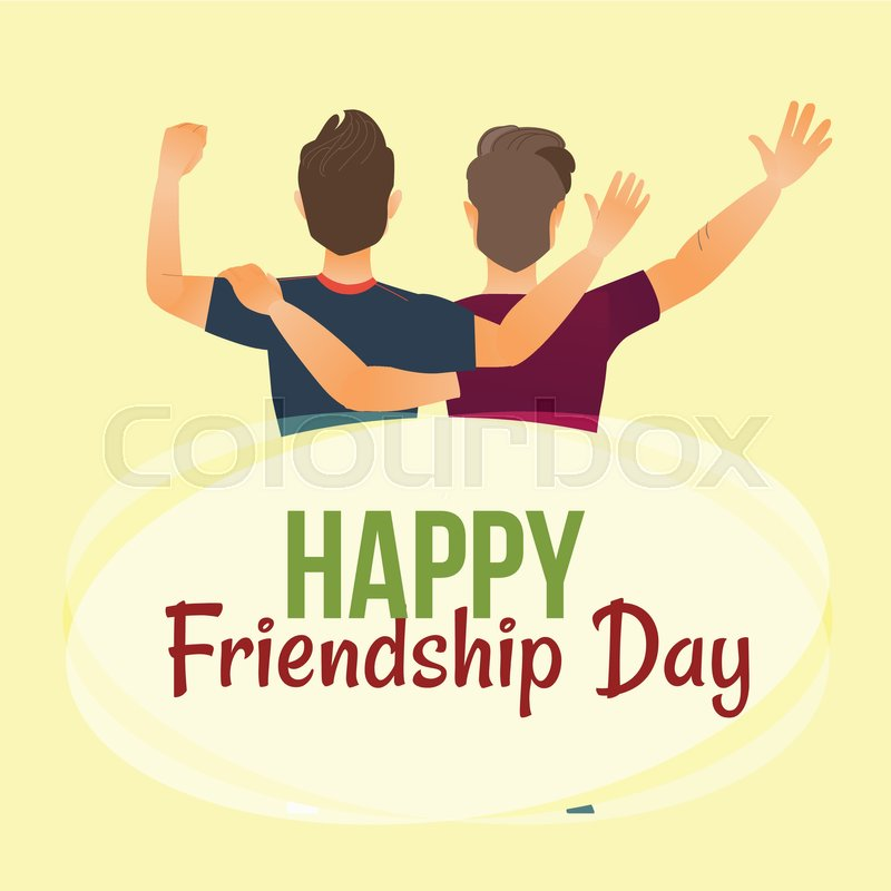 happy friendship day greeting card with back view of two men