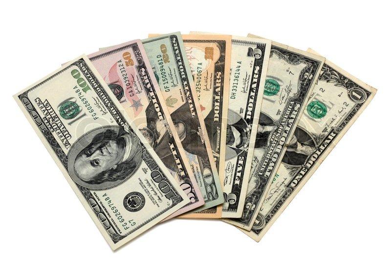 dollar scheine von 1 bis 100 darunter eine 2 euro schein auf wei em hintergrund stockfoto. Black Bedroom Furniture Sets. Home Design Ideas