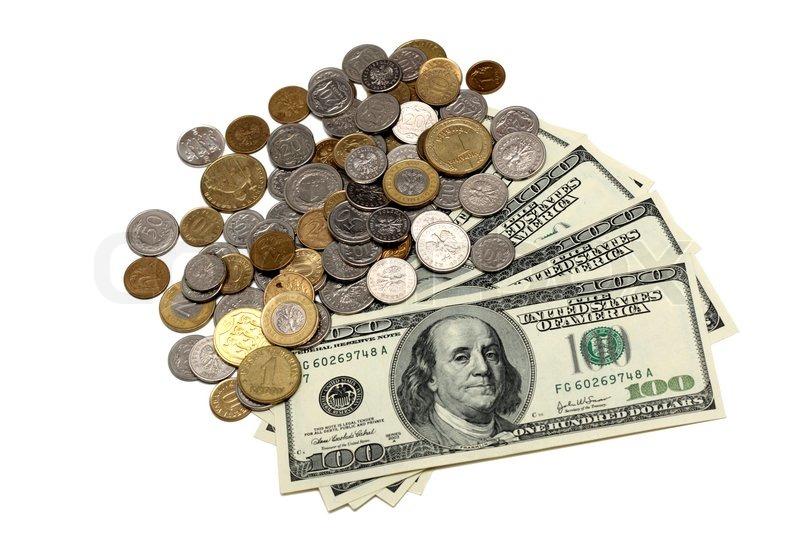 Hunder Dollar Scheine Und Ein Haufen Von Münzen Stockfoto Colourbox