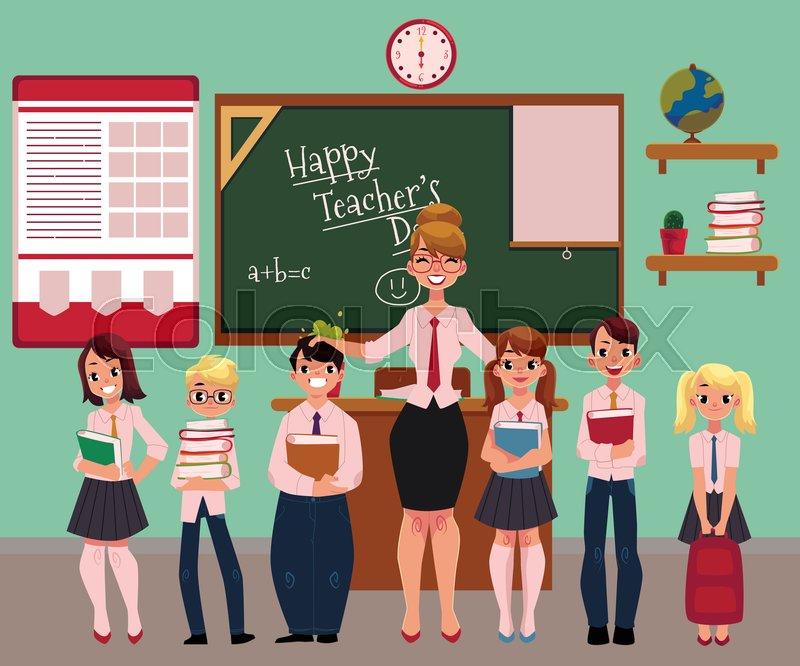 Full Length Portrait Of Female Teacher ...