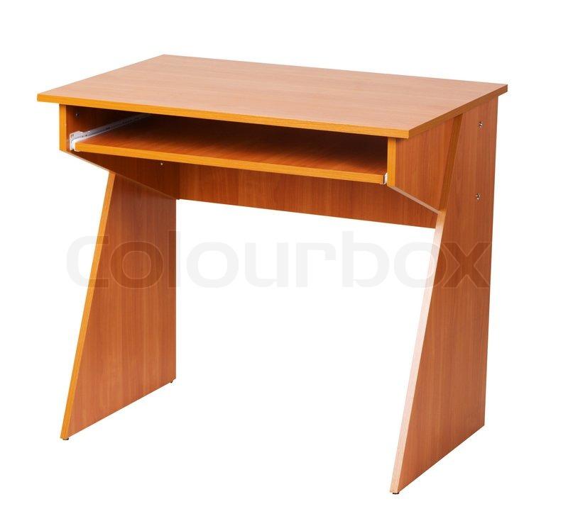 Holz computertisch auf wei em isoliert mit clipping pfad for Holz computertisch