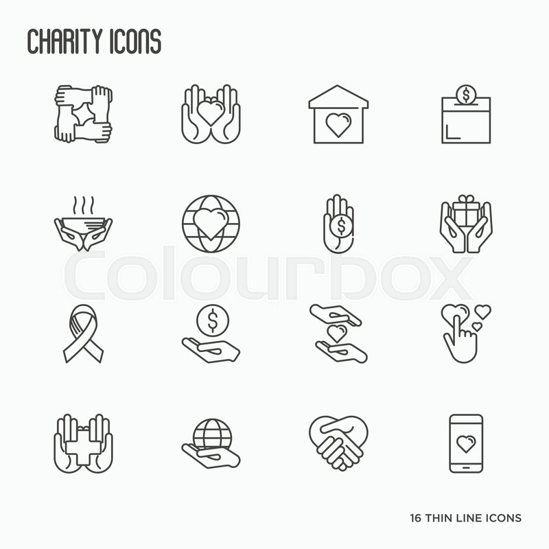 charity and donation thin line icons set element for logo of