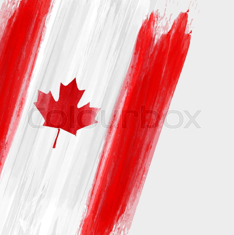 grunge canadian flag background with watercolor brushed lines template for holidays canada day. Black Bedroom Furniture Sets. Home Design Ideas