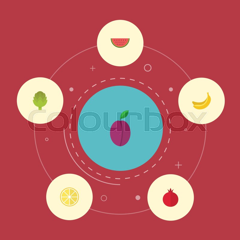 Flat Icons Lime Garnet Herbaceous Plant And Other Vector Elements