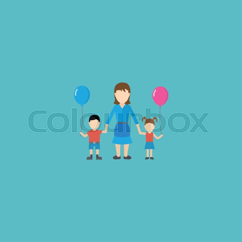 Flat Icon Lady Element Vector Illustration Of Flat Icon Children