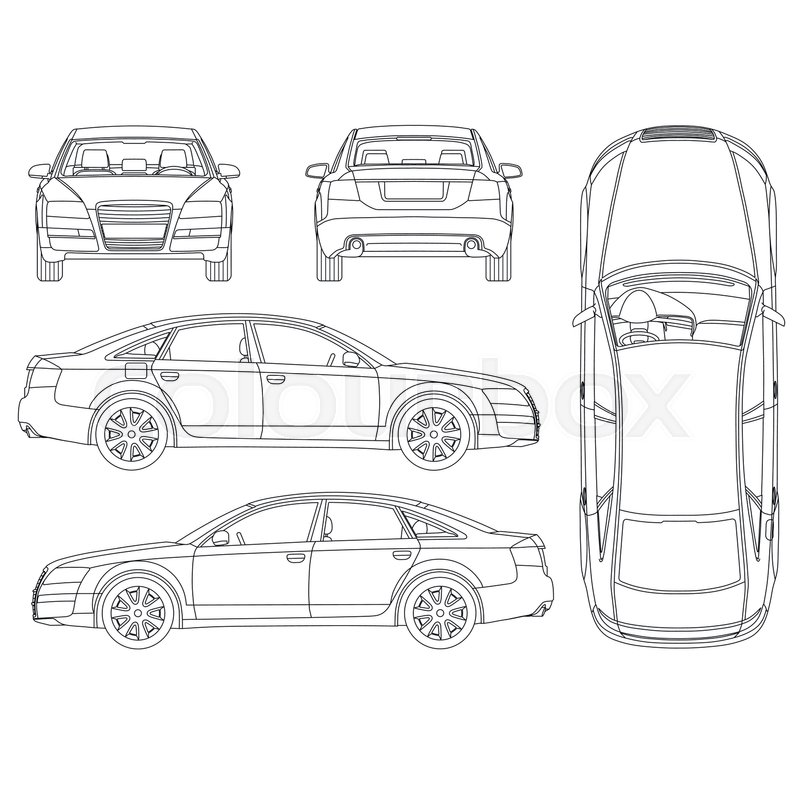 Car line draw four all view top side back insurance rent damage car line draw four all view top side back insurance rent damage condition report form blueprint vector malvernweather Image collections