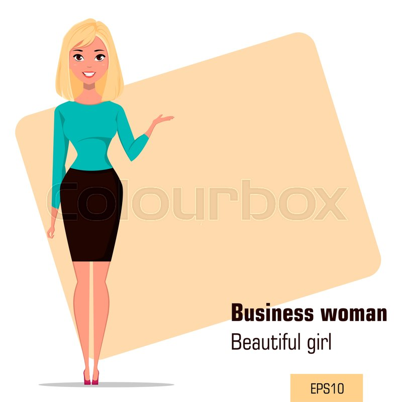 young cartoon businesswoman wearing business style clothing beautiful girl presenting business plan startup fashionable modern lady vector illustration