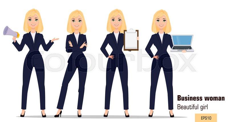 Young Cartoon Businesswoman Set Stock Vector