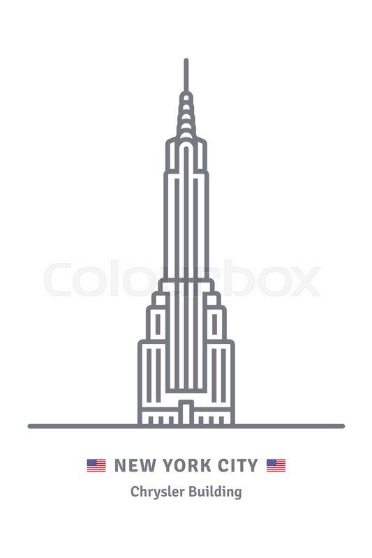 new york city line icon chrysler building and us flag vector rh colourbox com Chrysler Building Crown Top Floors of Chrysler Building