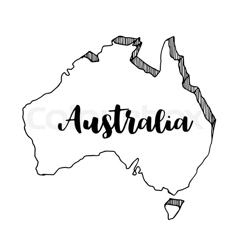 Australia Map Vector.Hand Drawn Of Australia Map Vector Stock Vector Colourbox
