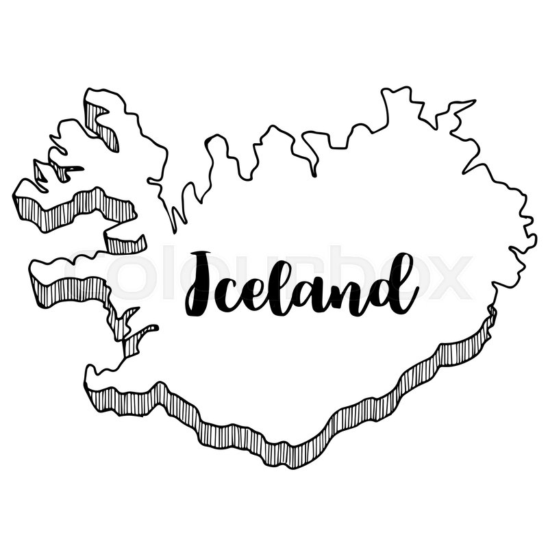 Hand drawn of Iceland map, vector ... | Stock vector | Colourbox