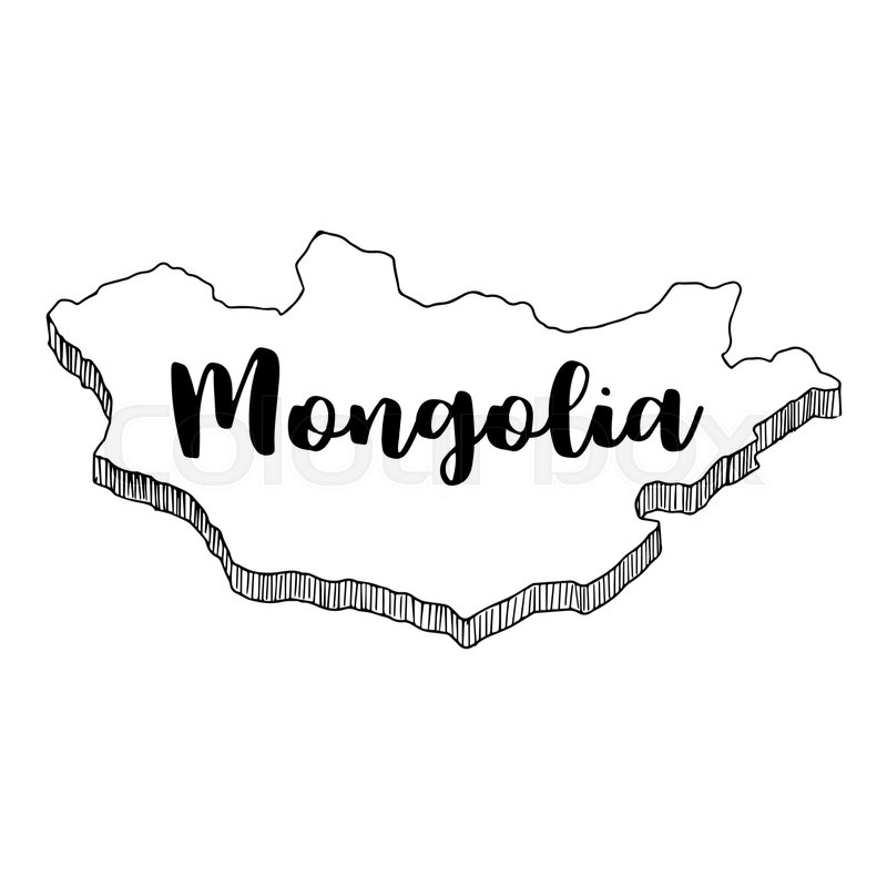 Hand Drawn Of Mongolia Map Vector Illustration Stock Vector - Mongolia map vector
