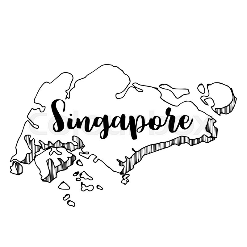 Hand drawn of Singapore map, vector ... | Stock vector | Colourbox