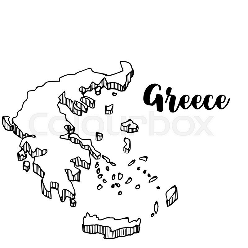 Hand drawn of Greece map, vector ... | Stock vector | Colourbox