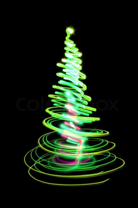 Christmas tree form the color lights on the black ...