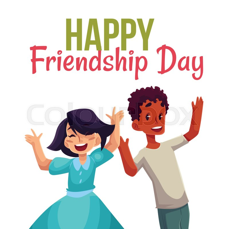 Happy friendship day greeting card design with happy children boy happy friendship day greeting card design with happy children boy and girl jumping in excitement cartoon vector illustrations isolated on white m4hsunfo Gallery