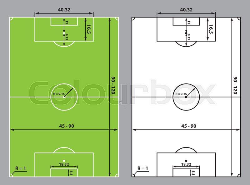 Soccer Field Or Football Field Sizes Stock Vector Colourbox