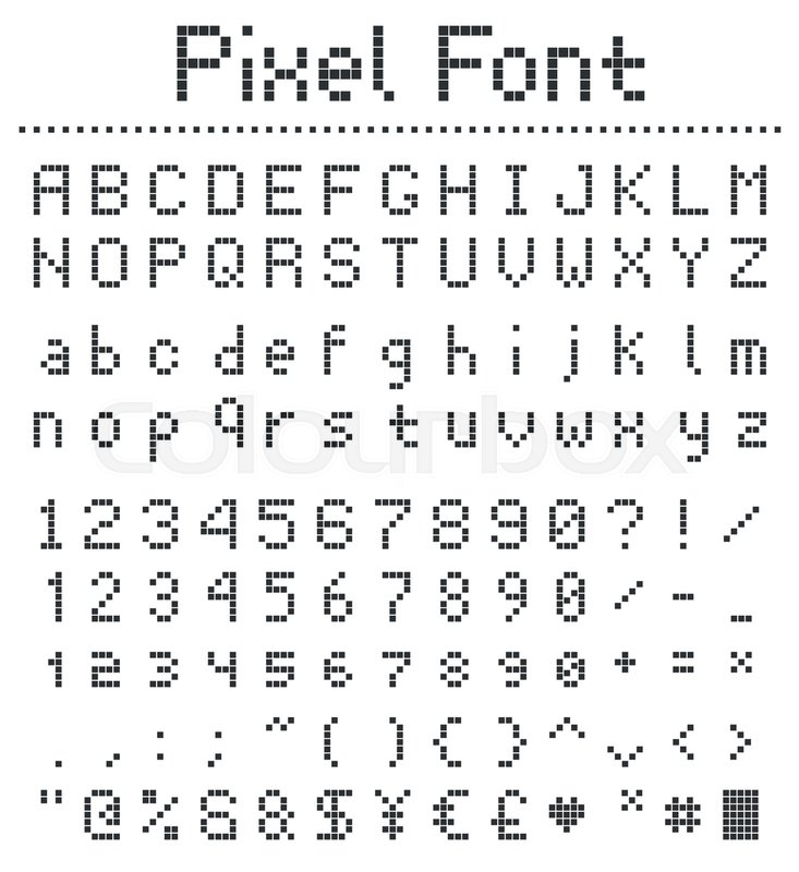 Square Pixel Font, Videogame Alphabet In Retro Style