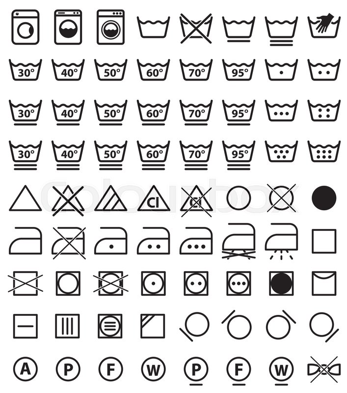 Laundry Icons, Washing Symbols And Signs For Cloth