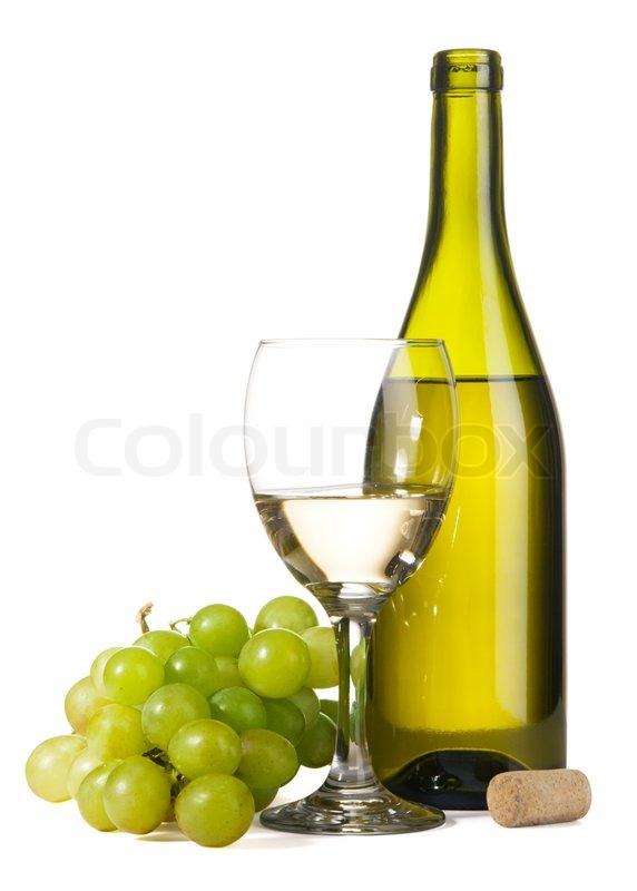 bottle of white wine and grapes isolated on white