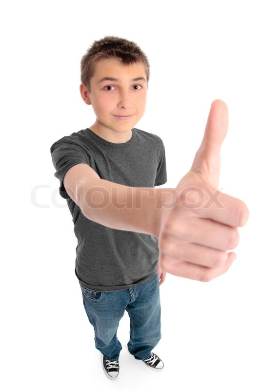 A Pre Teen Boy With Hand Outstretched Showing A Thumbs Up -8962