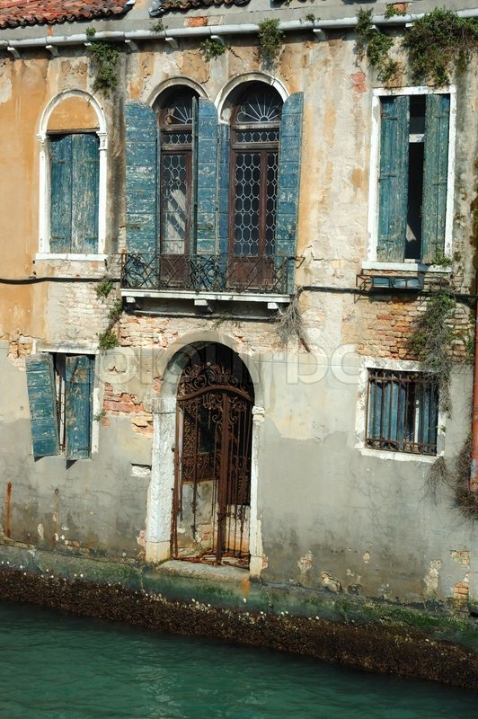 Old Beautiful Venice House On The Water Italy Stock