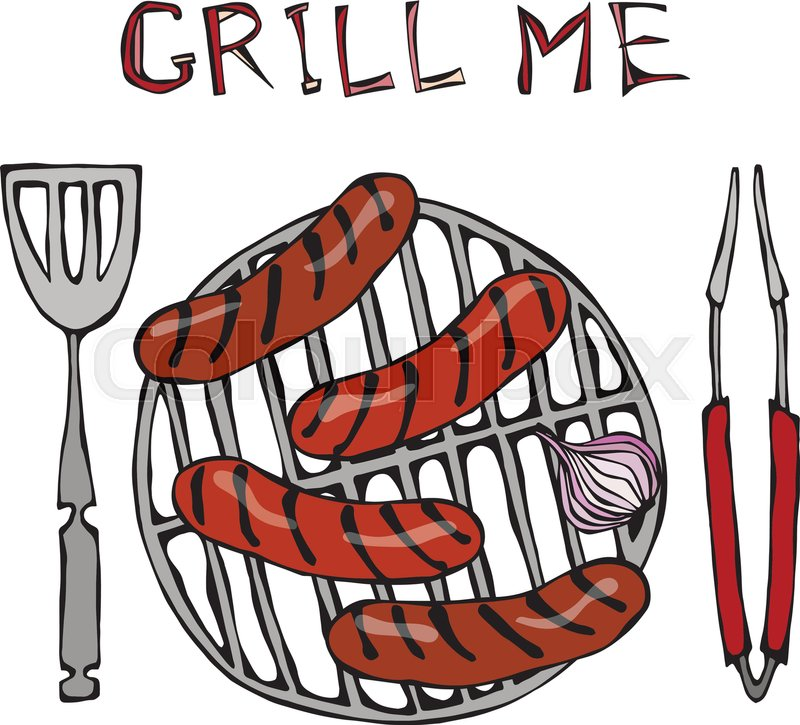 sausages and onion on the bbq grill lettering grill me barbecue