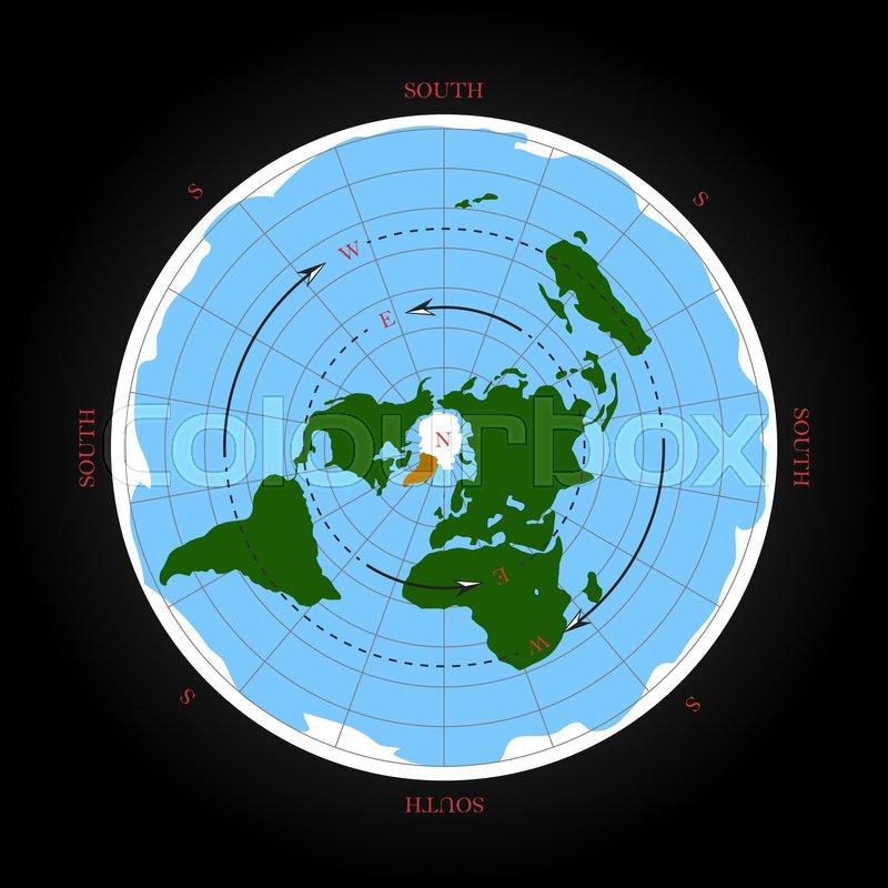 Cardinal Direction On Flat Earth Map Stock Vector Colourbox