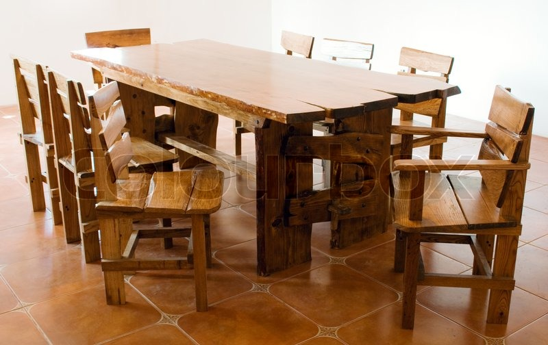 Large Old Wooden Table And Chairs Stock Photo Colourbox