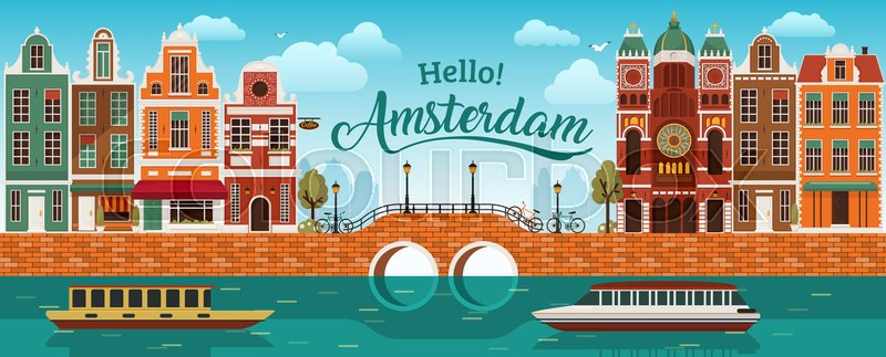 flat cartoon multicolor colorful historic buildings city town amsterdam panorama holland  river