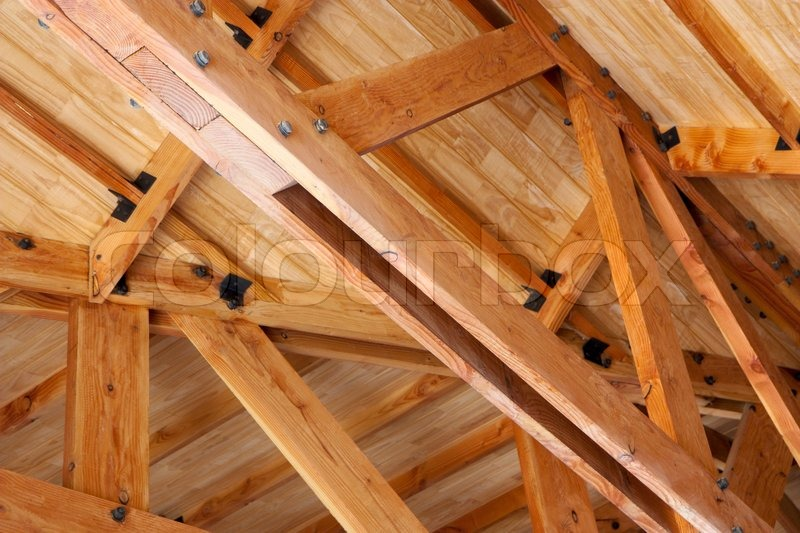 Wooden construction roof truss made of beams stock for Wood roof trusses prices