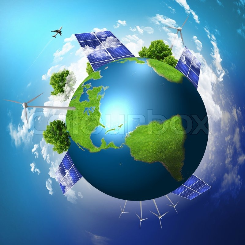 Green Planet Earth With Solar Energy Batteries Installed