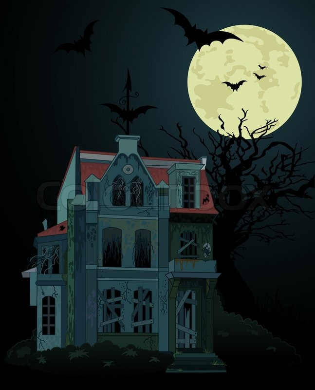 Spooky Haunted Ghost House Background Stock Vector