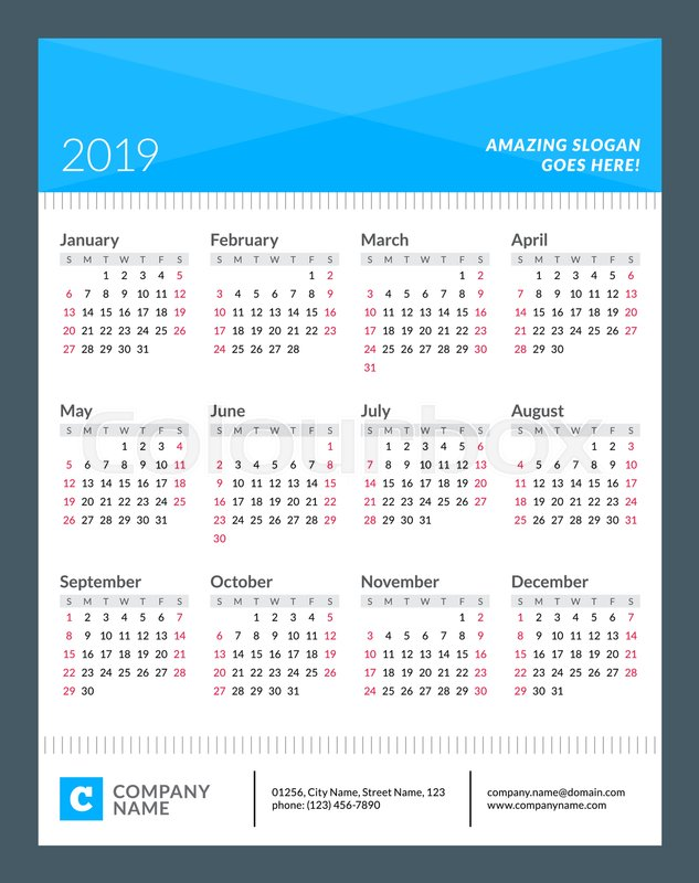 Calendar Poster For 2019 Year Week Starts On Sunday 12 Months On