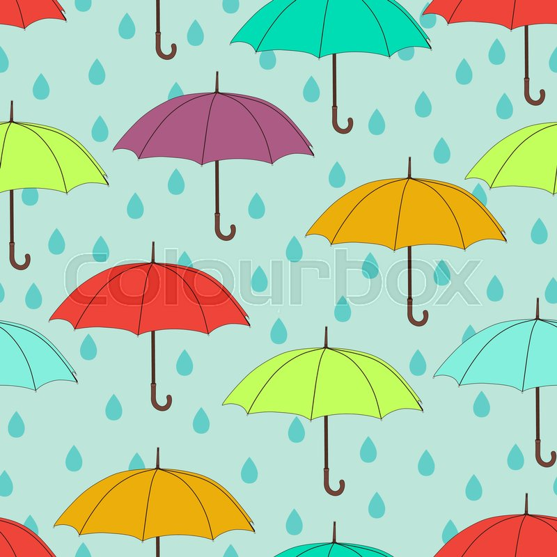 Umbrellas Seamless Pattern Vector Background Multicolored Bright And Raindrops On A Blue For Wallpaper Design Wrappers Fabrics
