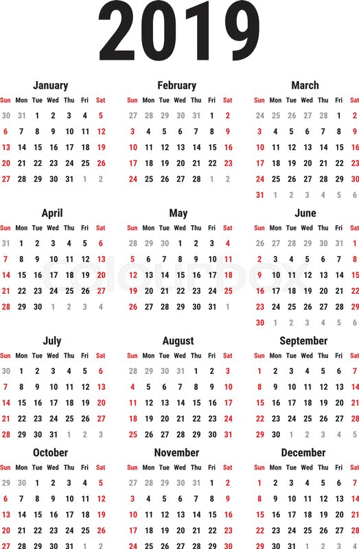 Calendar for 2019 Year on White Background. Week Starts ...