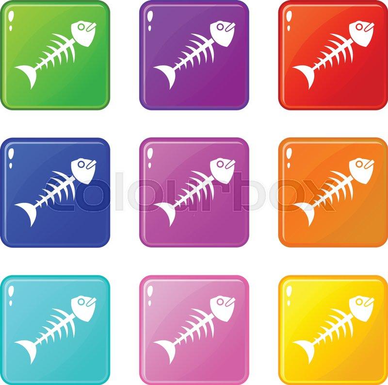 3fcb7bfd09ab Fish bone icons of 9 color set ...