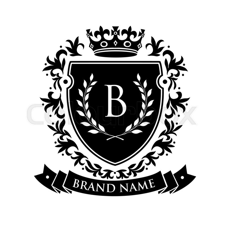 Heraldic Emblem Shield With Crown And Laurel Wreath Coat Arms Vintage Brand Crest Vector Illustration