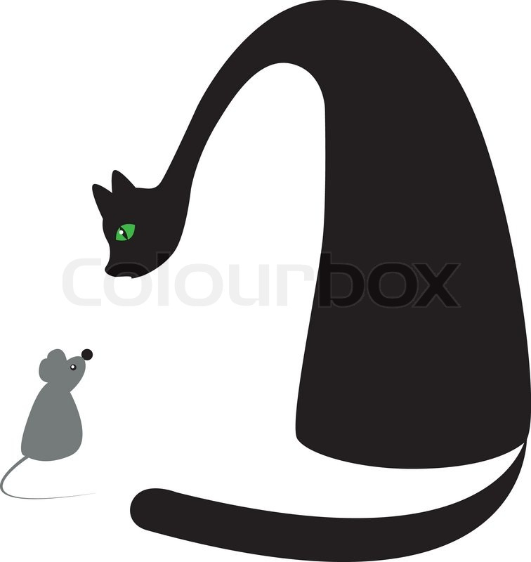 Stock vector of 'Pair cat and mouse for the decoration of wares for children'