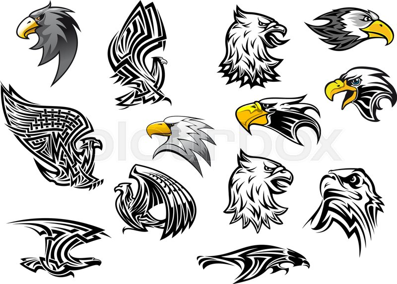 Eagle or hawk vector icons for mascot or tattoo. Isolated ...